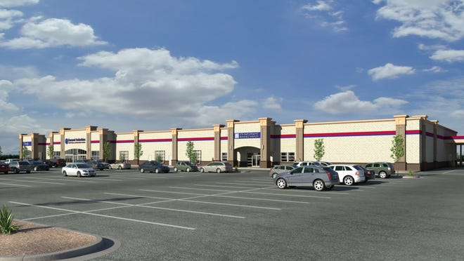 A conceptual rendering shows a Deseret Industries thrift store, operated by The Church of Jesus Christ of Latter-day Saints, proposed for Gilbert.