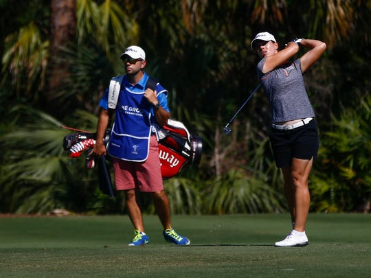 LPGA Tour pro Karine Icher during the final round of the CME Group Tour Championship at Tiburón Golf Club Sunday, Nov. 19, 2017 in Naples. Icher finished the tournament with a score of five-under par.