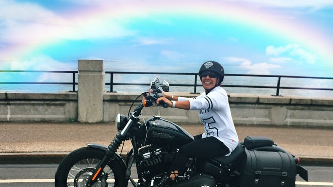 Saugus resident Karen Guarino, seen here on her Harley, was the victim of a hit-and-run in Topsfield in July. She has a long road ahead of her, but she's recovering and says she is overwhelmed by all the support she's receiving.