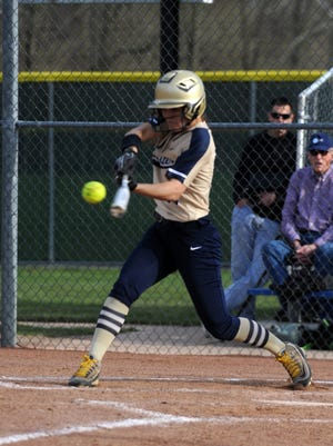 Lancaster senior Alexis Matheney gets set to hit the ball during a game against Pickeington Central. The Gales swept Logan in a doubleheader on Saturday in the process, combined to score 39 runs.