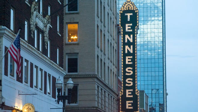 The Tennessee Theater's iconic vertical sign hangs over Gay Street on June 3, 2016. The Regal Hollywood's Night Out event will take place at the theater on Sunday, Feb. 26.
