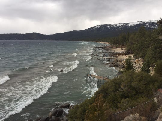 Waves on the lakeshore near Incline Village.