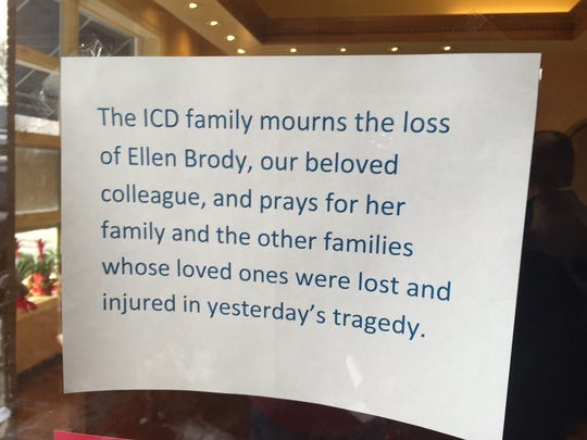Ellen Brody worked at Chappaqua's ICD Contemporary Jewelry. A sign outside ICD on Wednesday mourned her death.