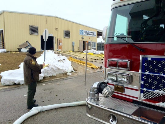 Fumes from a fire Friday, Feb. 6, 2015, at Warsaw Chemical Co. forced the evacuation of 50 homes and sent at least seven people to the hospital as a precaution after they complained of burning eyes and lungs.