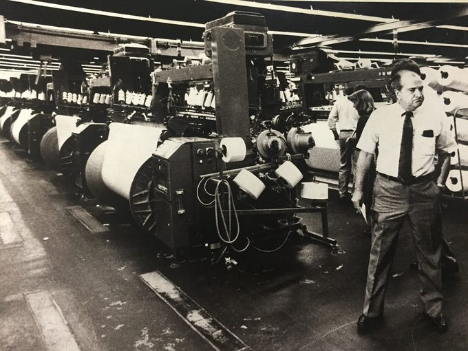 The Greenwood Mills Chalmers Plant showin in 1985.