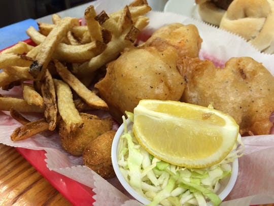 Hand-battered cod fillets and hand-cut fries make up