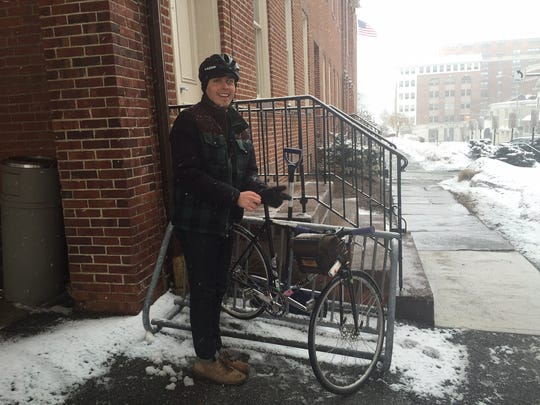 Thursday's Superior Court closure meant that Zach Veugen could enjoy his bike ride home -- a short one -- instead of sitting through jury duty in Morristown on Thursday, March 5, 2015.