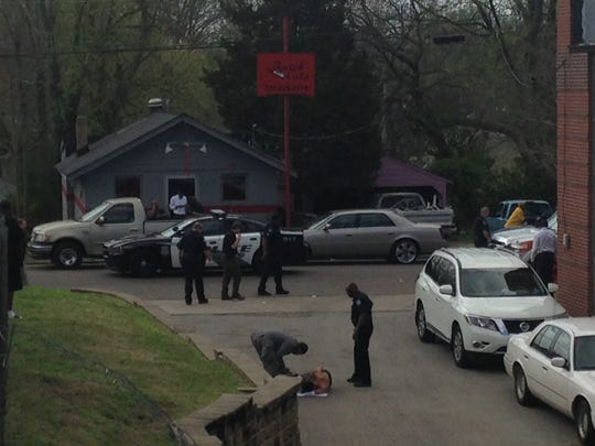 Jackson police responded at 11:43 a.m. today to a shots-fired call at Orchard and Laconte streets, on the southeastern edge of the campus of Lane College. A man was wounded in the shooting and was taken to the hospital by ambulance.