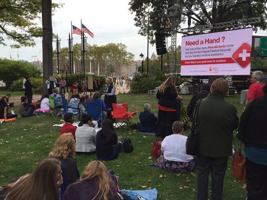 About 50 people were already camped out in front of a jumbotron at Franklin Square Park. The screen is just outside the ticket entrance for Pope Francis' event at Independence Mall.
