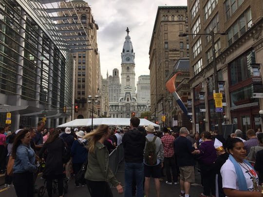 Security checkpoints Saturday in Philadelphia.