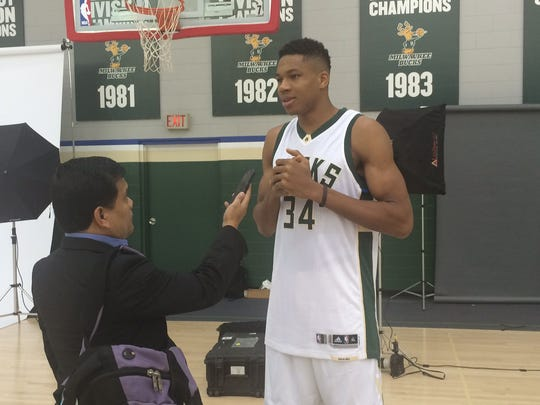 Giannis Antetokounmpo is interviewed during Milwaukee