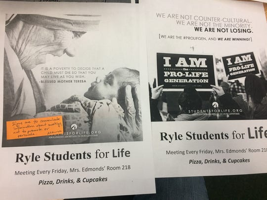 Senior Patrick Edwards says these posters were rejected by the administration at Larry A. Ryle High School.
