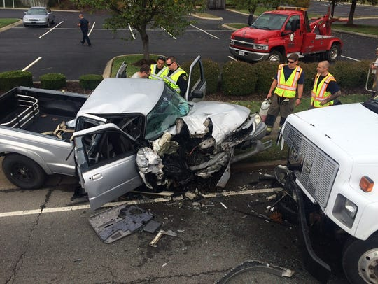A crash Friday on Wilma Rudolph Boulevard injured one