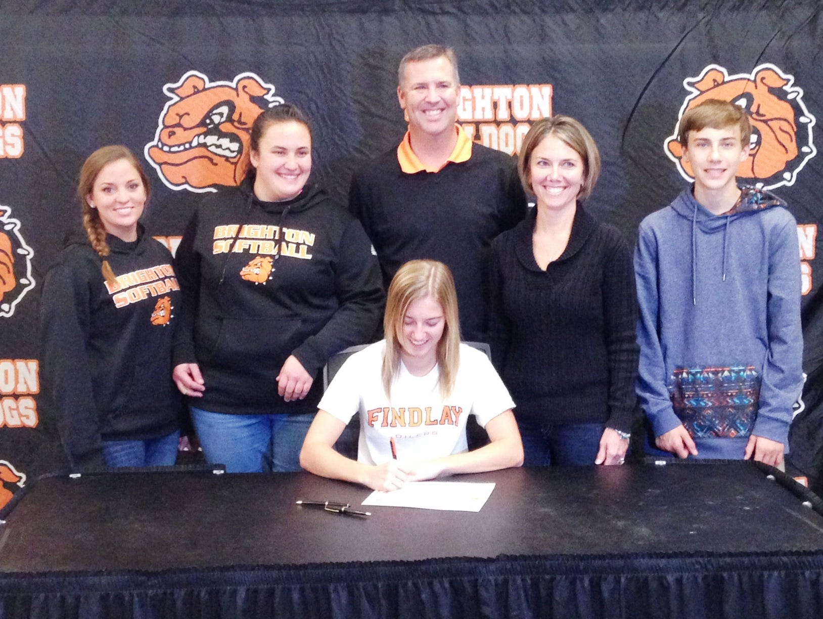 Brighton's Emily Barr signs her letter of intent on Wednesday afternoon at Brighton High School.