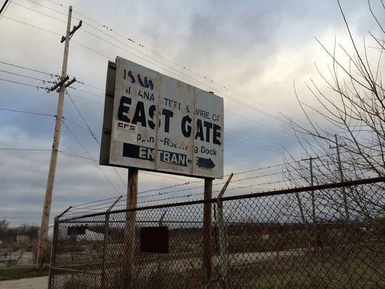 The entrance to the former Indiana Steel and Wire site on East Jackson Street. Officials are hoping to redevelop the site as Kitselman Pure Energy Park.