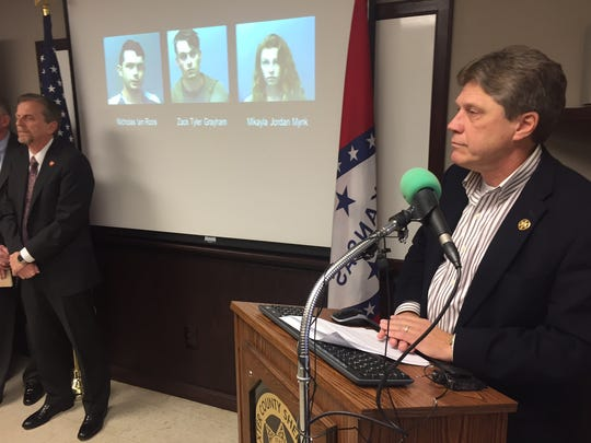 Sheriff John Montgomery announces three arrests in connection with the deaths of Midway couple Donald and Ladonna Rice.