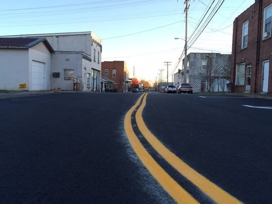 North Mulberry Street after being paved Thursday.