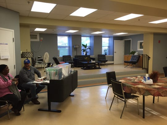 A view of the primary room at Our Promise, a drop-in center for the homeless in the basement of the First Baptist Church in Morristown.