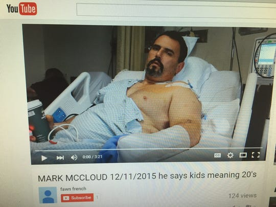 Mark McCloud appears in a YouTube video in which he discusses an explosion that seriously injured him last week in Northfield.
