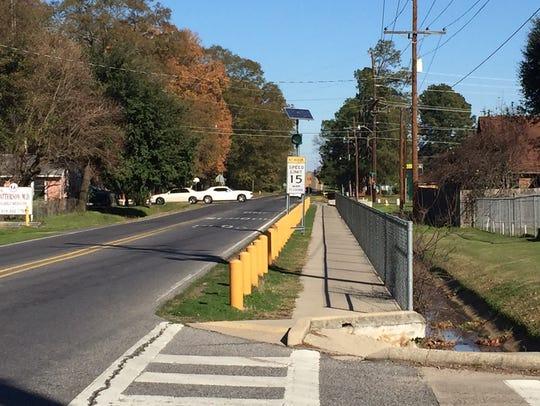 Sidewalk approaching Carver Elementary in Monroe