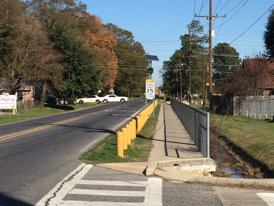 Sidewalk approaching Carver Elementary in Monroe