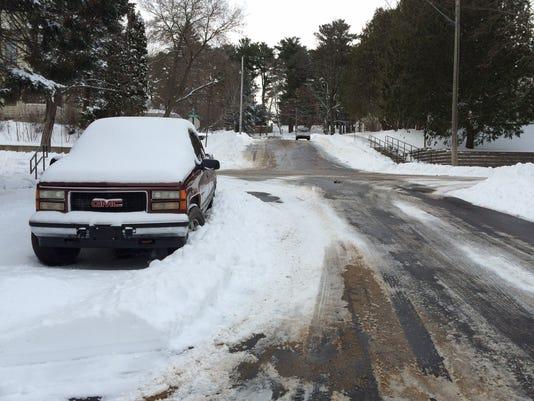 Plowed-in truck