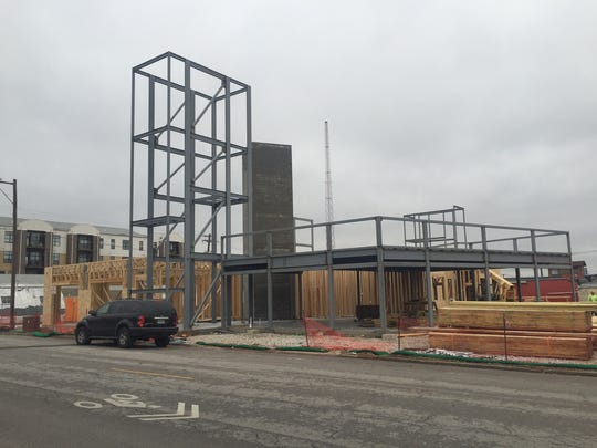 Construction is underway on the Brewery District Lofts development along West Walnut Street.