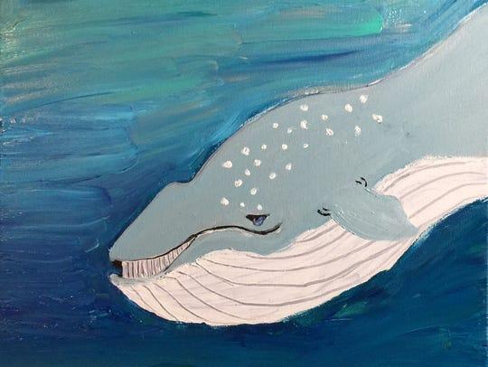 "Artist Bria Neff, 9, painted this work, ""Big Blue"""