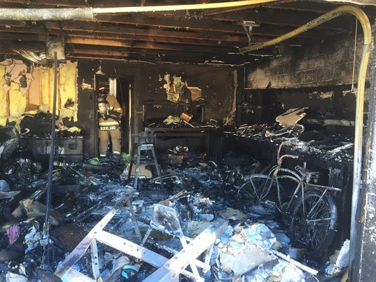 The garage of the home was destroyed, a small portion of the interior and the homeowner's car were also damaged.