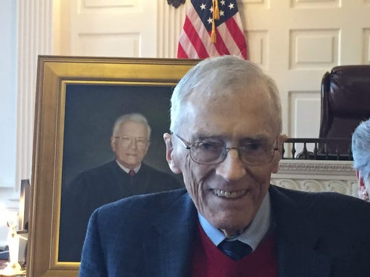 Retired Morris County Superior Court Assignment Judge Reginald Stanton at the unveiling of his portrait on Jan. 27, 2016, in Morristown.