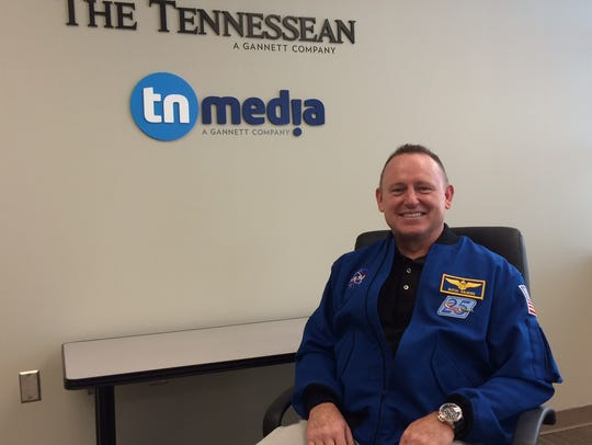 Astronaut Butch Wilmore during a visit to The Tennessean