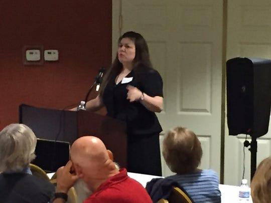 Kanie Kastroll speaks at Thursday's roundtable sponsored