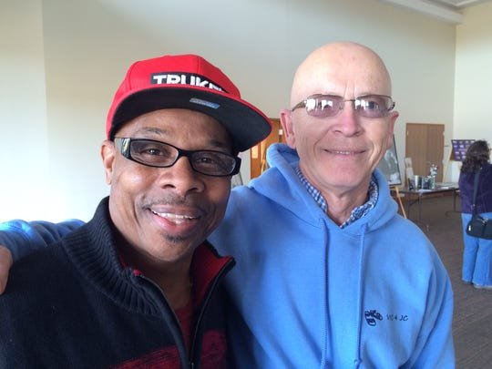 """Tyrone Wisdom and Jack Braun attended the Ebony Vision Black History Month event Saturday in Fond du Lac. They have become friends through a local endeavor called """"The Humanity Project,"""" which matches strangers up who then get to know each other."""