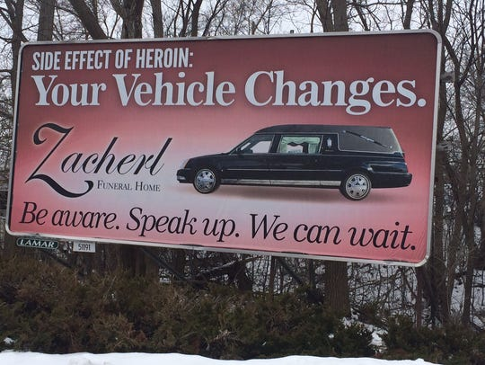 A billboard in Fond du Lac by a local funeral home