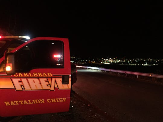 The Carlsbad Fire Department respond to the scene of car crash on Skyline Road Wednesday night.