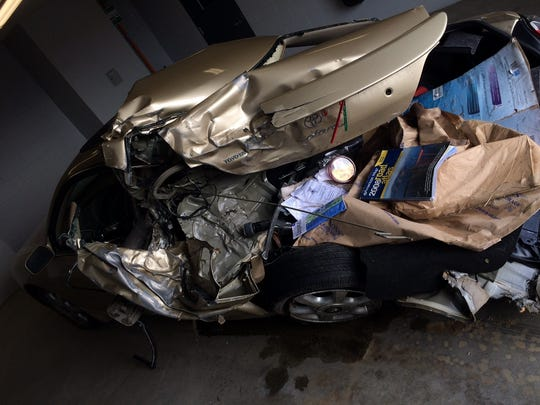 A car turning onto Kennedy Drive from North Twin Oaks Terrace Wednesday evening was struck by one of two cars drag racing , South Burlington police said.