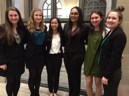 Participating in the Fed Challenge at the Federal Reserve Bank in New York on Tuesday, March 15, were (pictured, left to right): Julia MacDonald of Westfield, Caroline Clausen of Glen Gardner, Gabriela Alba of Springfield, Jugdip Khokher of Iselin, Bryn Wegryn of Westfield, and Madelynn Wellons of Annandale.
