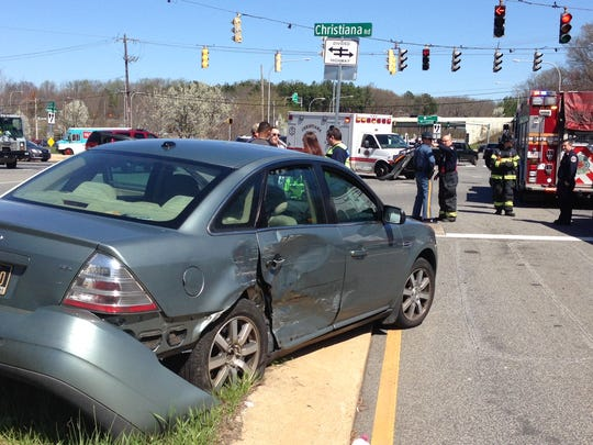 Three people were transported to the hospital following the crash in Christiana.