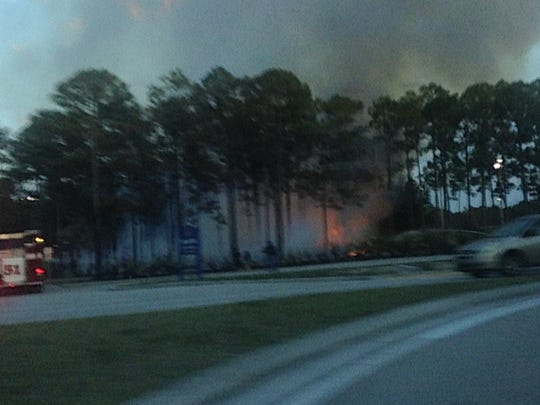 A fire burned the north end of Three Oaks Community Park on Monday evening.