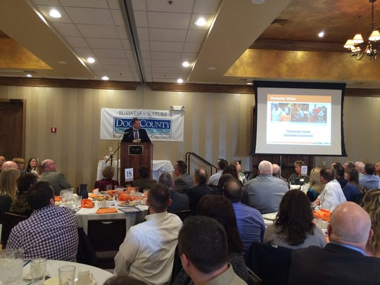 Dan Ariens, president and CEO of Ariens Co., spoke about building a workforce in rural Wisconsin during Door County Economic Development's annual meeting Thursday afternoon.
