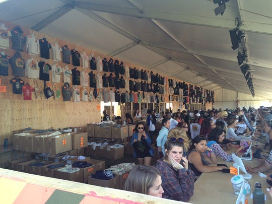 The Merchandise tent at Coachella is a popular spot most days.