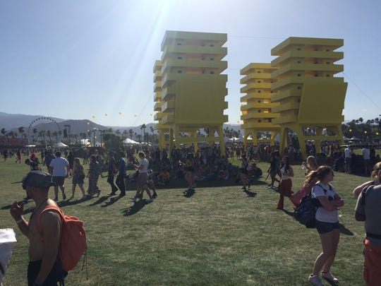 This art installation at Coachella looks like four giant folding chairs holding pizza boxes.