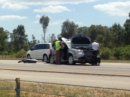 A man in this van was killed in a four-vehicle crash