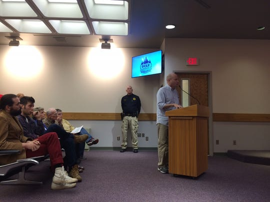 Hugh Espey, executive director of Iowa Citizens for Community Improvement, pleads for $15 minimum wage before the Polk County Board of Supervisors on Tuesday, April 19, 2016.