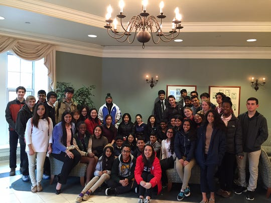 Sophomores from The Wardlaw-Hartridge School in Edison gather for a class photo in Paul Loser Hall during their trip to The College of New Jersey on April 12. The students attended an information session, enjoyed a tour of the campus and had lunch at an all-you-can-eat buffet. They were accompanied by Susan Swenson and Russell Althouse from the College Counseling Office and Dawn Francavilla, Director of Student Life.