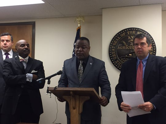 House Democrats called for a three-year moratorium in holding districts accountable for TNReady delays Friday, April 22. Pictured are Reps. G.A. Hardaway, Antonio Parkinson and Bo Mitchell.