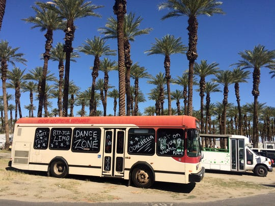 A party bus, ready for Coachella concert-goers, is parked at Thousand Palms RV park.