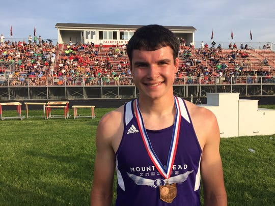 Mount Gilead senior Sawyer Shipman qualified for the state meet next week in both hurdles events in boys Division III.
