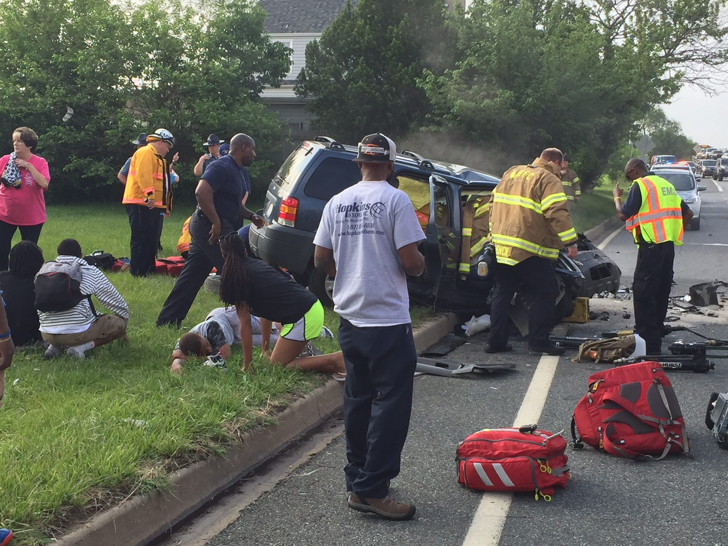 A two-vehicle crash left multiple people injured on Del. 141 on Tuesday, May 31, 2016.