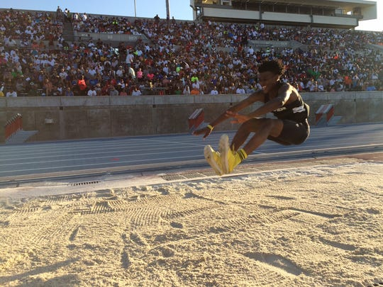 Jah Strange improved five spots from his 11th-place finish a year ago in the boys' triple jump for sixth with a leap of 48 feet, 0.25 inches